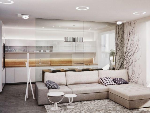 ... Wohnzimmer Kueche Glas Trennwand Beige Weiss Holz Arbeitsplattejpg ...