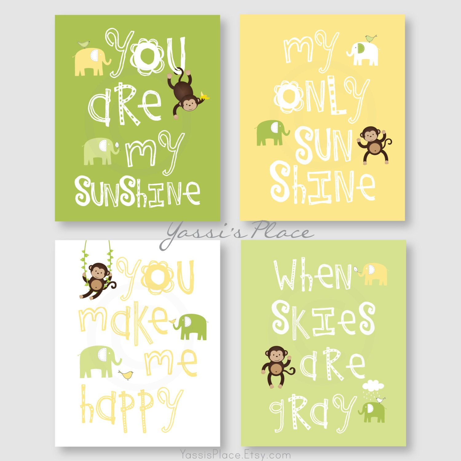 Monkey Art, Kids Wall Decor, Yellow and Green Nursery prints, Boy or ...