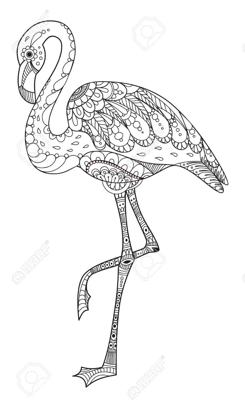 Flamingo Zentangle Dibujado A Mano Ilustracion Grafica Mandalas Para Colorear Animales Paginas Para Colorear De Animales Mandalas Animales
