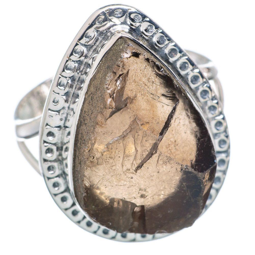 Rough Smoky Quartz 925 Sterling Silver Ring Size 9 RING719827