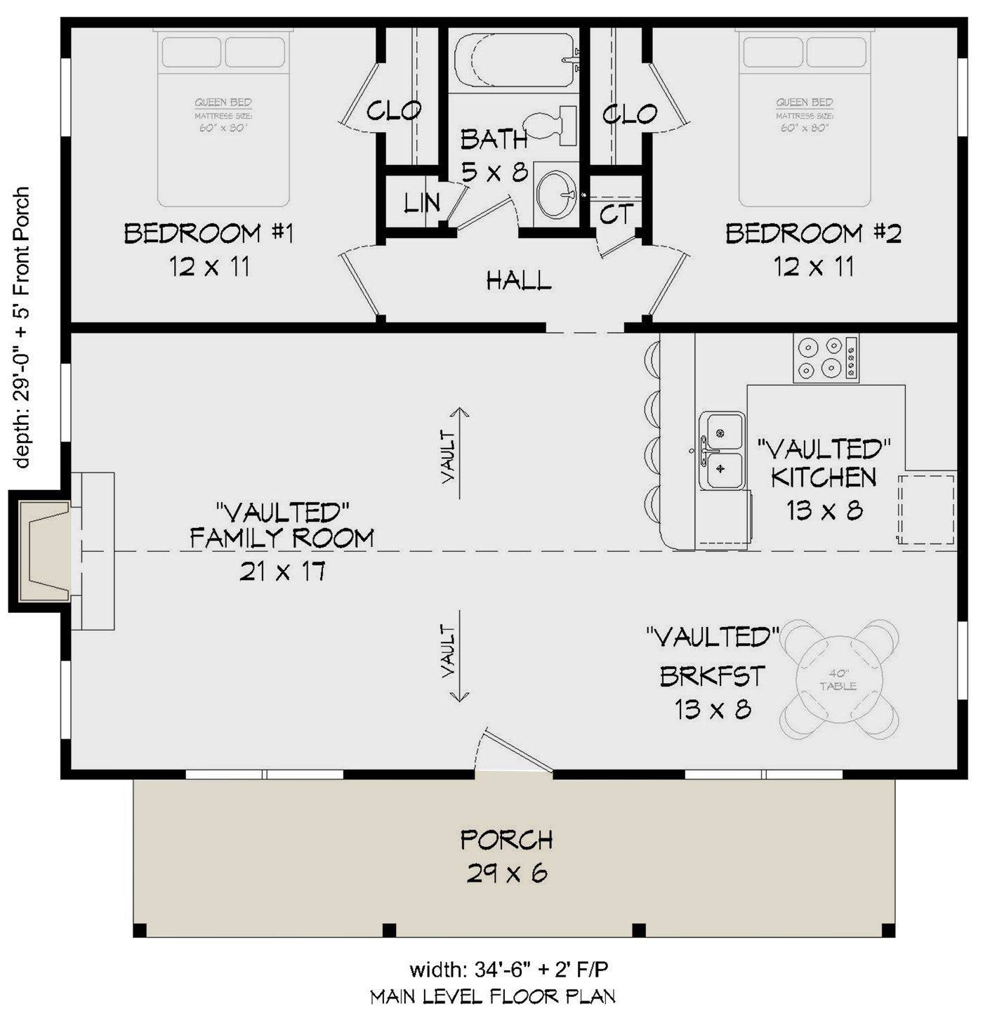 House Plan 94000138 Cabin Plan 1,000 Square Feet, 2