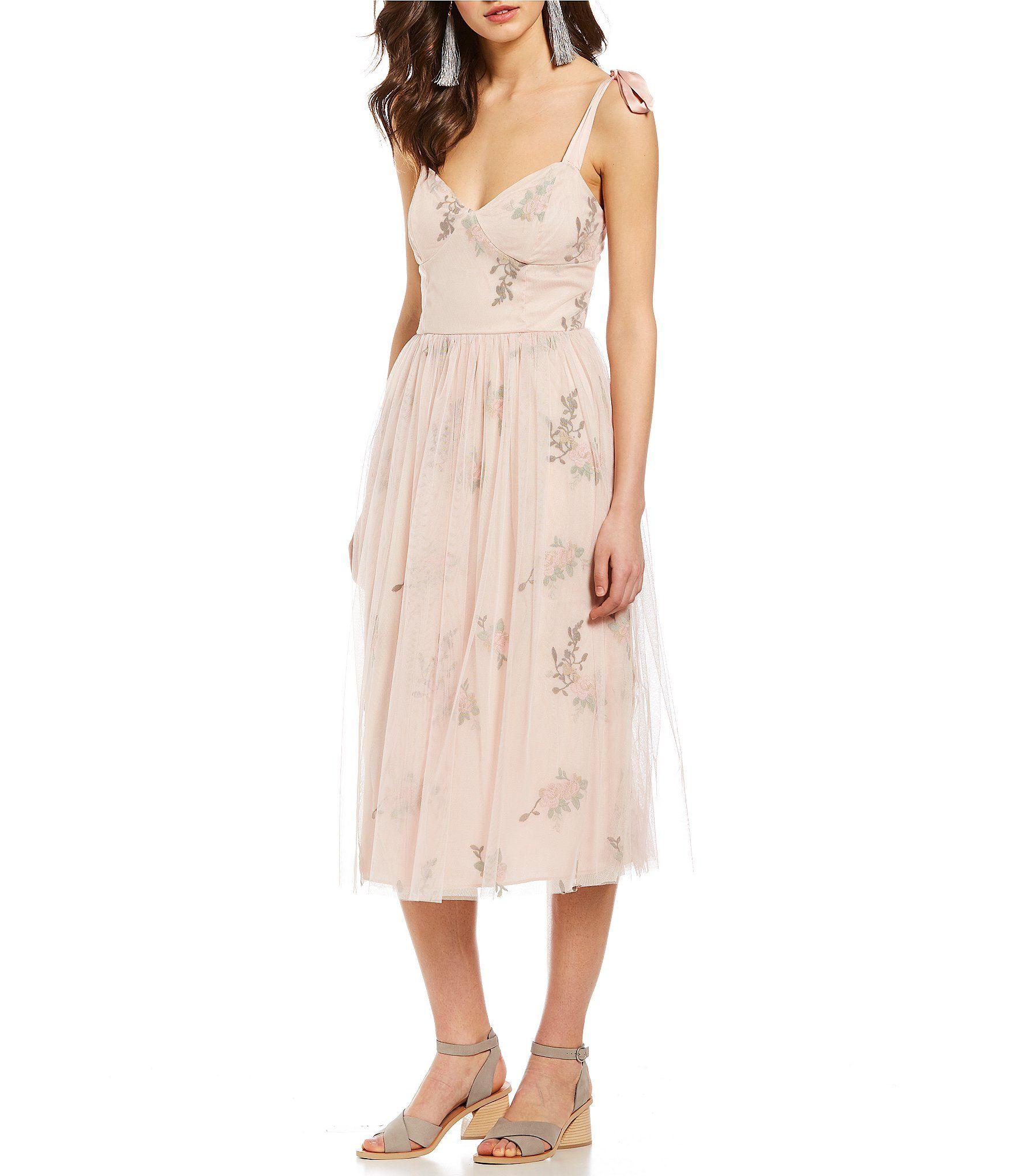 Shop For Chelsea Violet Floral Embroidered Tie Strap Sweetheart Midi Dress At Dillards Com Visit Dil Spring Dresses Casual Floral Bridesmaid Dresses Dresses [ 2040 x 1760 Pixel ]
