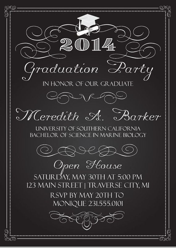 Chalkboard Graduation Party Invitations Graduation Announcement – Grad Party Invites