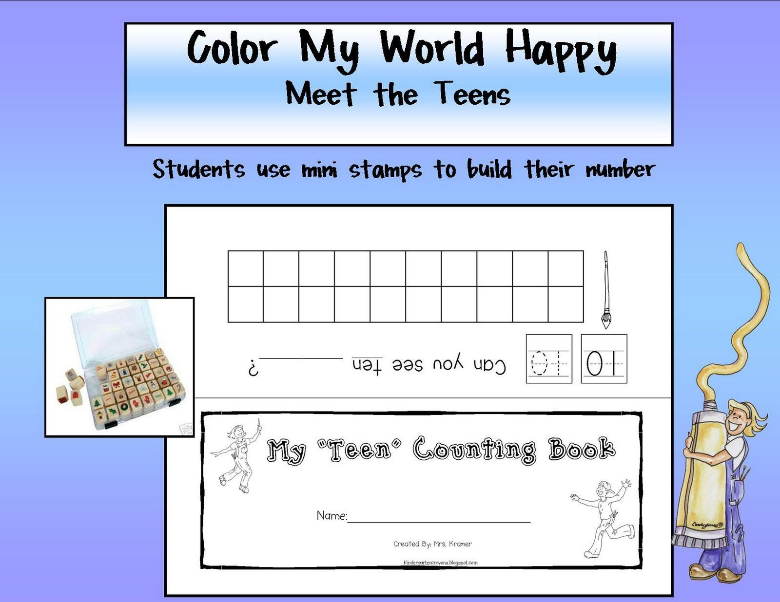 Kindergarten Crayons Teen Counting Book 10 Plus Some