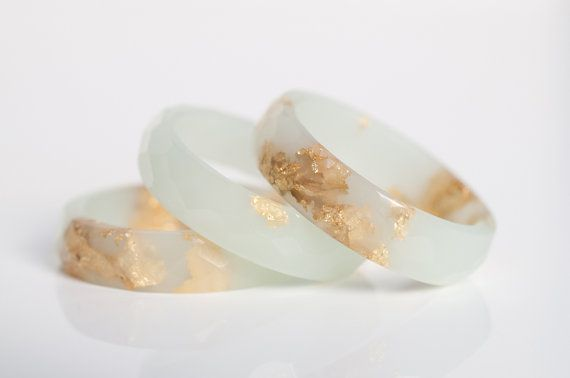 ring size 7.5 | thin multifaceted eco resin ring | pale green winter mint with metallic gold leaf flakes