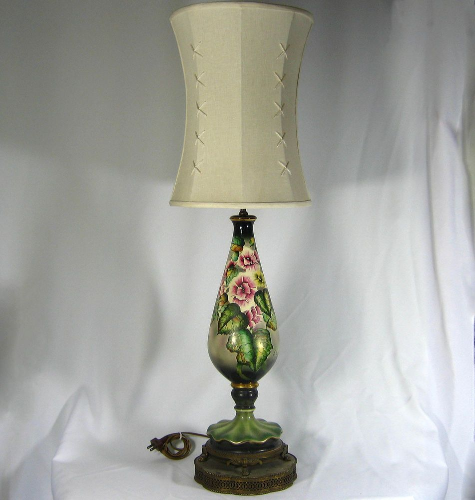 Table Lamp Vintage Hand Painted Porcelain Signed Huber Parlor Lamp 1930s Rare Vintage Table Lamp Hand Painted Porcelain Table Lamp