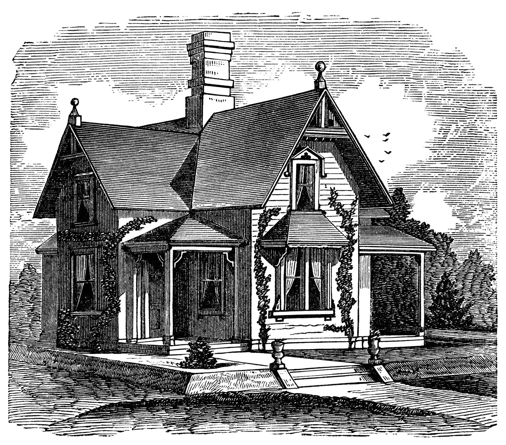 black and white clipart, Victorian cottage image