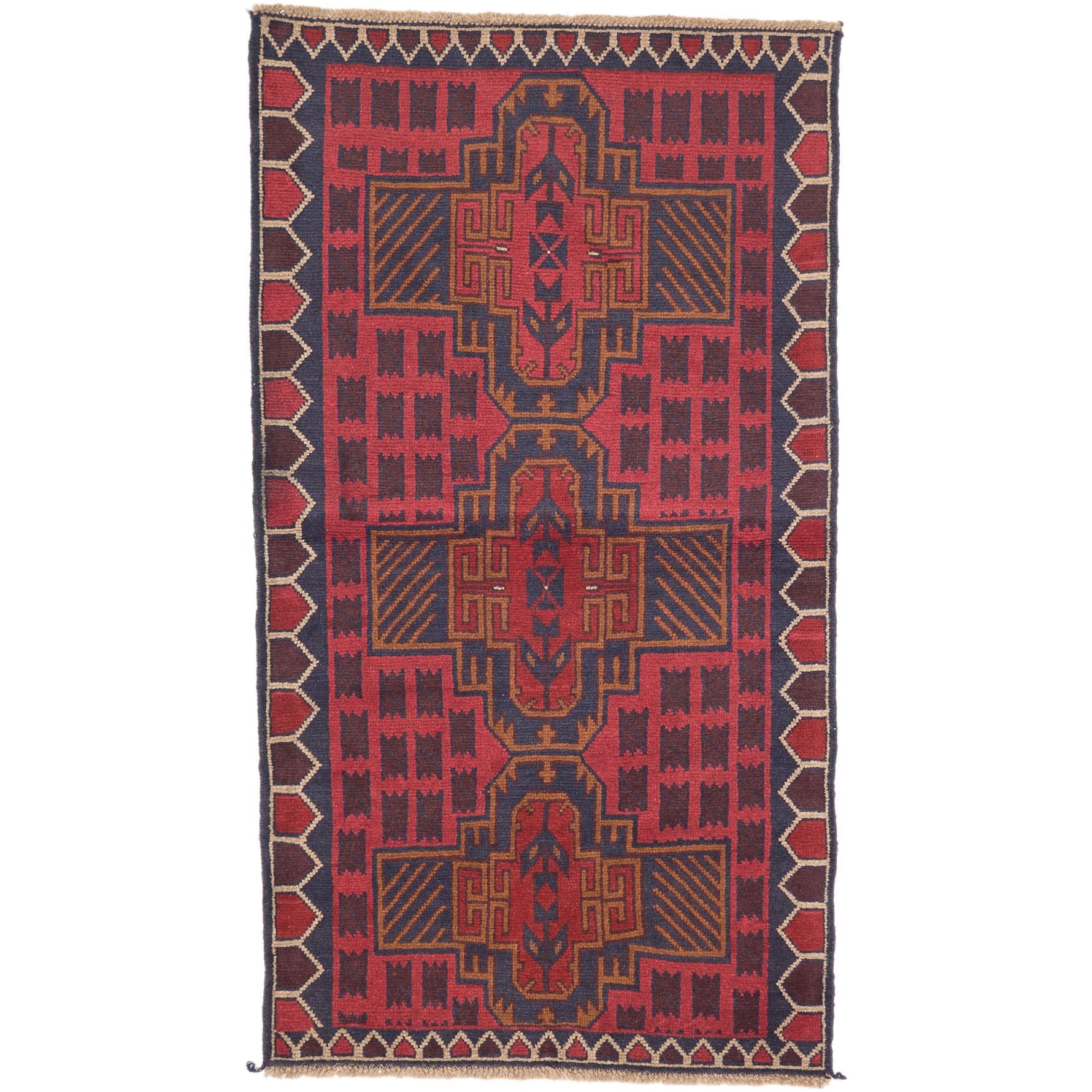 ecarpetgallery Hand-Knotted Bahor Red Wool Rug (3'6 x 6'4) (Red Dark Burgundy Rug (3' x 6')), Brown, Size 3' x 6'