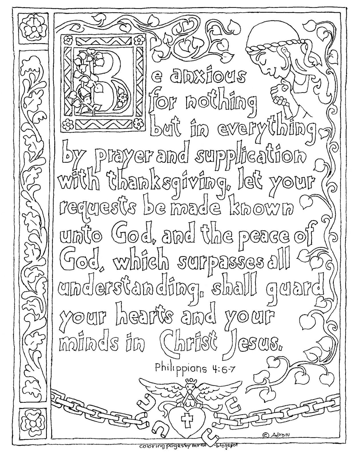 Coloring Pages For Kids By Mr Adron Printable Philippians 4 6 7 Illuminated Text Style
