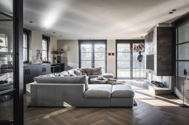 Moderne woonkamer met luxe hoekbank interieur pinterest wohnzimmer