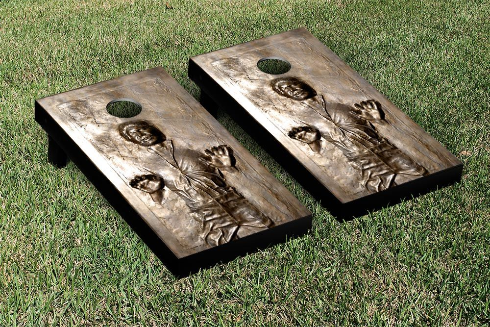 Victory Tailgate has a lot of fun, outdoor games like this Han Solo in Carbonite #StarWars game, complete with matching bean bags. Check out their Tumble Tower game - it's a life size Jenga game!