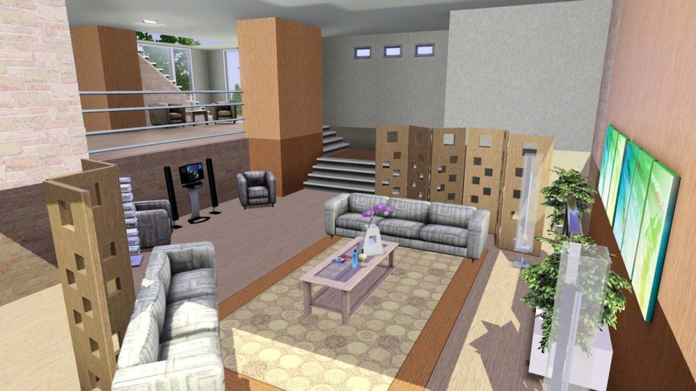 Living Room Ideas Sims 3 split-level living room | sims 3 and 4 houses | pinterest | living