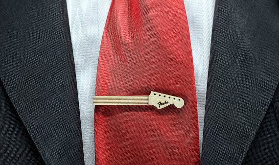 Guitar neck Tie Clip - Maple wood tie bar | Tie clip and ...