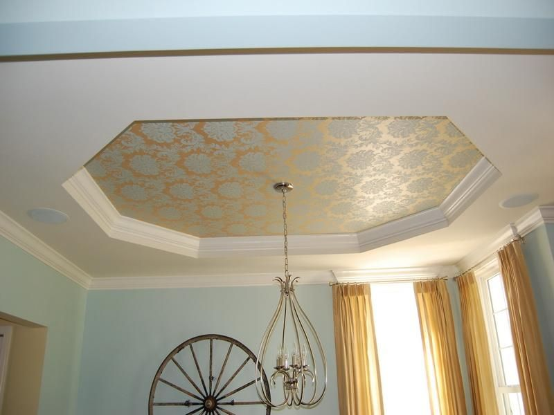 Octagon Shaped Ceiling With Wall Covering Ceiling Design Best