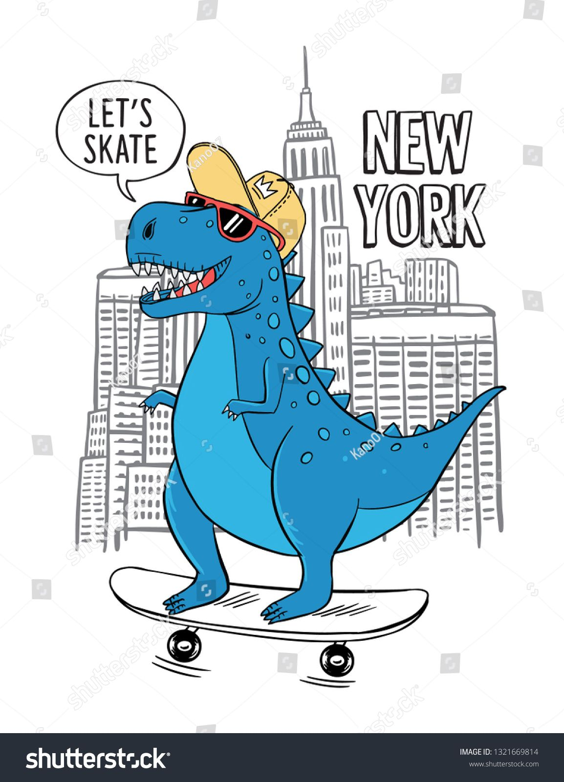 Skater Dinosaur vector illustration with cool slogans. For t-shirt prints and other uses. #dinosaurillustration