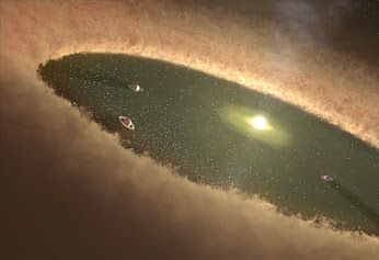 "Largest planets likely formed first from icy ""planetary pebbles"" From Astronomy Now: This artist's concept of a young star system shows gas giants forming first, while the gas nebula is present. Southwest Research Institute scientists used computer simulations to nail down how Jupiter and Saturn evolved in our own solar system. These new calculations show that the cores of gas giants likely formed by gradually accumulating a population of planetary pebbles — icy objects about a foot (30…"