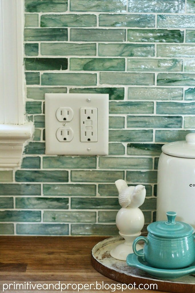 Glass Tile Backsplash Sea