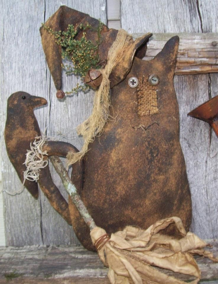 Witch Cat with Hat, broom and crow. Contact for price and ordering info. Folk art by Meadow Fork Primitives