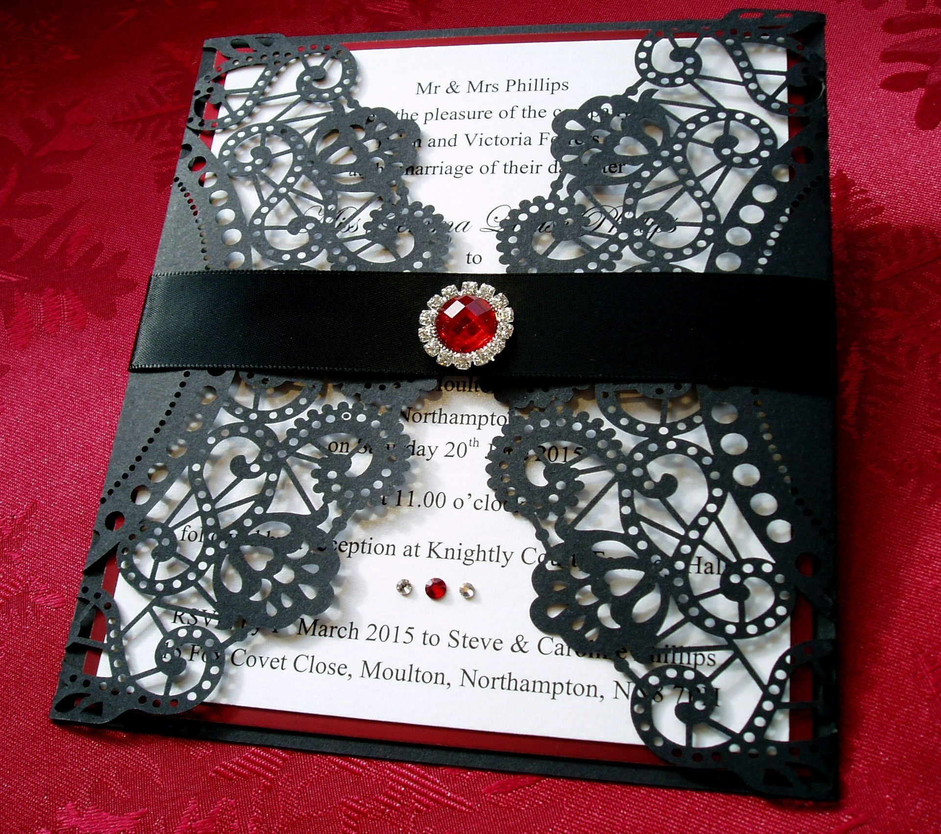masquerade wedding invitations Gothic Style Wedding Invitation in Black and Red