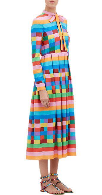 Valentino Rainbow Check & Stripe Shirtdress - Long - Barneys.com
