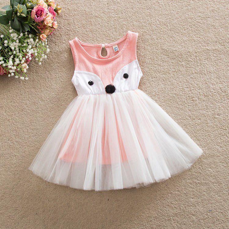 New Toddler Baby Girls Fox Sleeveless Dress Princess Tutu Dresses Summer Clothes
