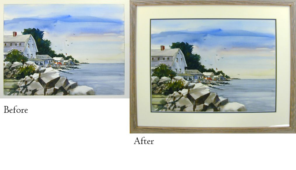 Before And After Watercolor Painting Framed In A Rustics Frame