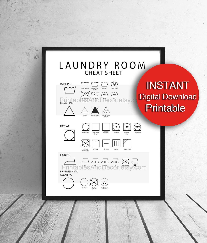 Laundry Symbols Art Printable Decor Laundry Symbols Cheat Sheet Care Guide Laundry