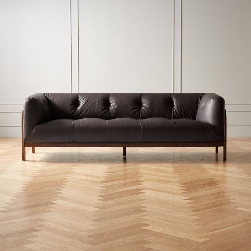 Moet Charcoal Leather Tufted Sofa In 2020 Modern Furniture