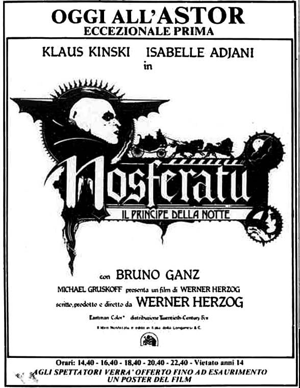 """Nosferatu. Il principe della notte"" (Nosferatu: Phantom der Nacht, 1979) Italian release: February 23, 1979. #MoviePosters #HorrorMovies #Nosferatu #Vampires #WernerHerzog #KlausKinski"