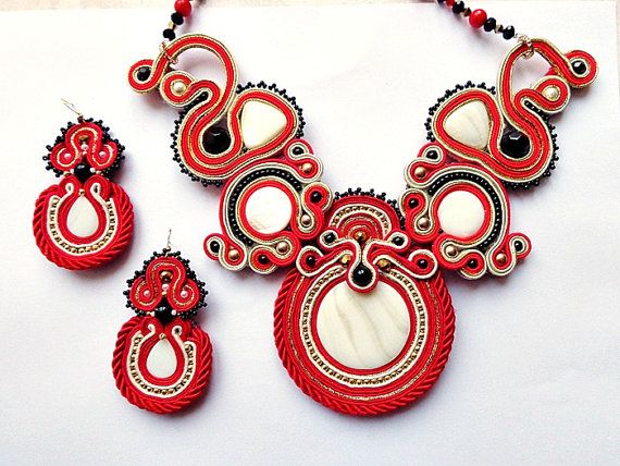Valentine Red soutache set necklace and earrings by mysweetcrochet, $294.00