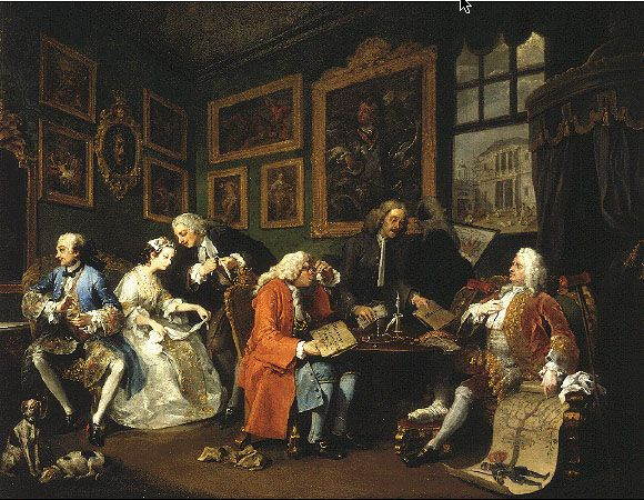 William Hogarth (1697-1764). Marriage à la Mode: Arranging the Marriage