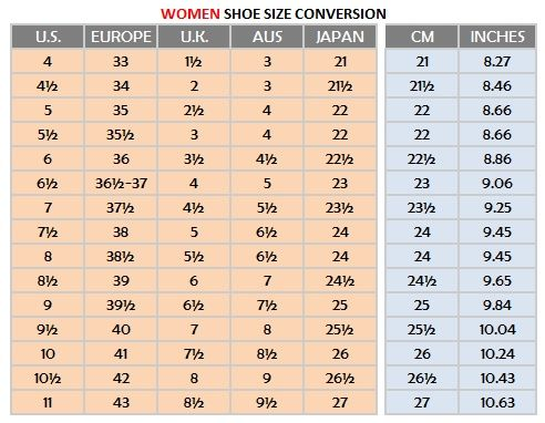 Womens Shoe Size Conversion Chart Google Search Fashion