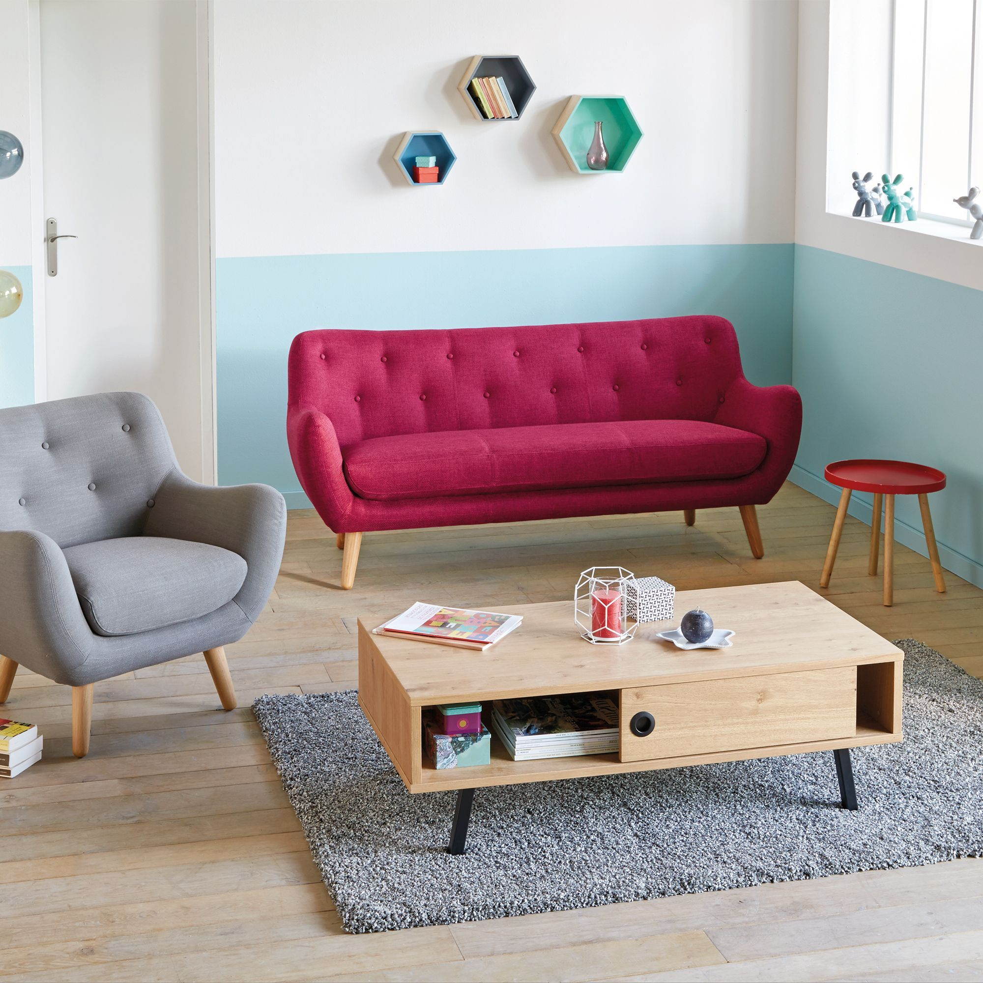 Poppy Meuble Canapé Places Fixe Framboise Esprit Scandinave - Canapé 3 places pour décoration chambre À coucher
