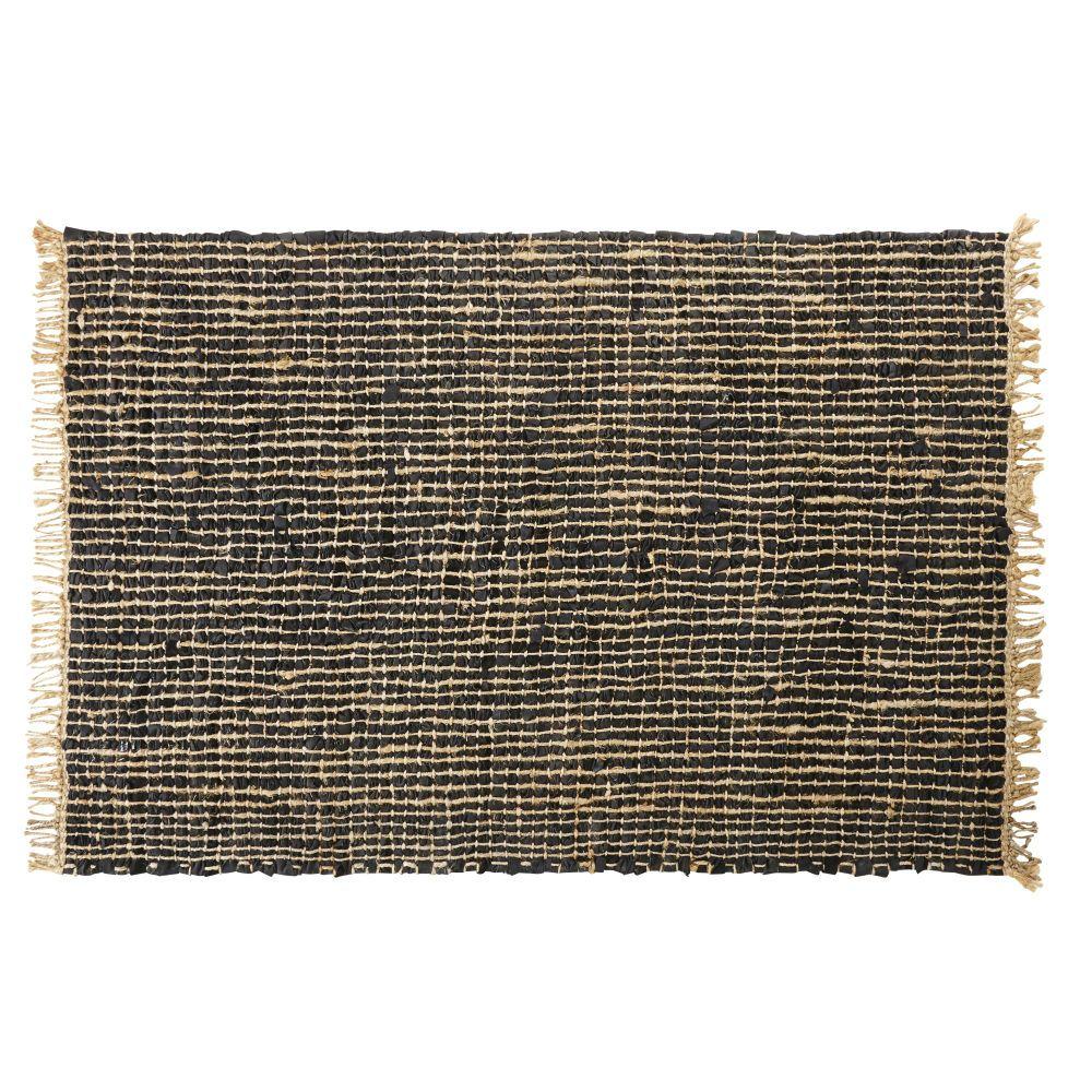 Tapis Tresse En Cuir De Vache Noir Et Jute 160x230 Woven Rug Rugs Decorative Storage Boxes