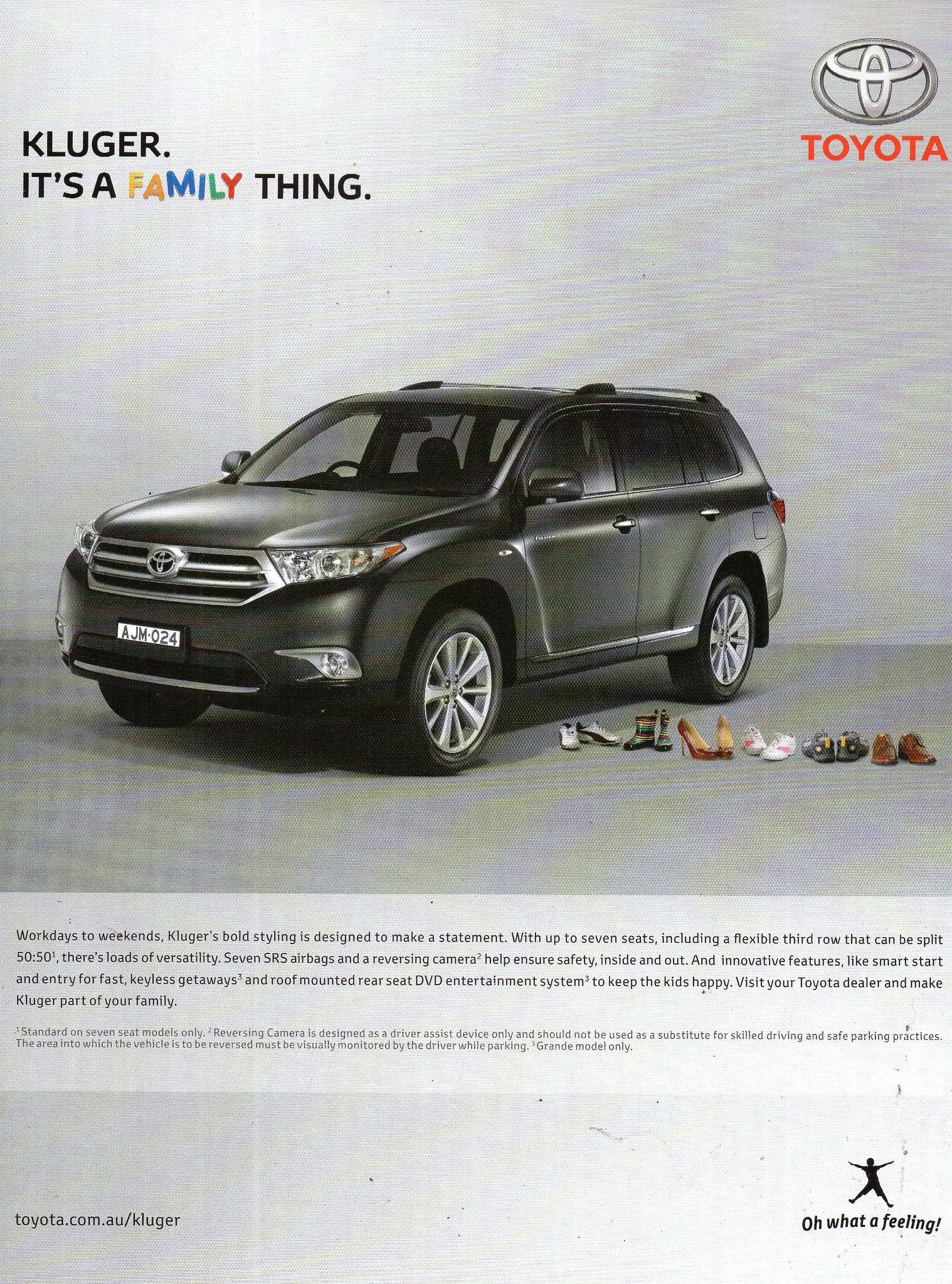 2012 Toyota Kluger Suv Wagon Aussie Original Magazine Advertisement