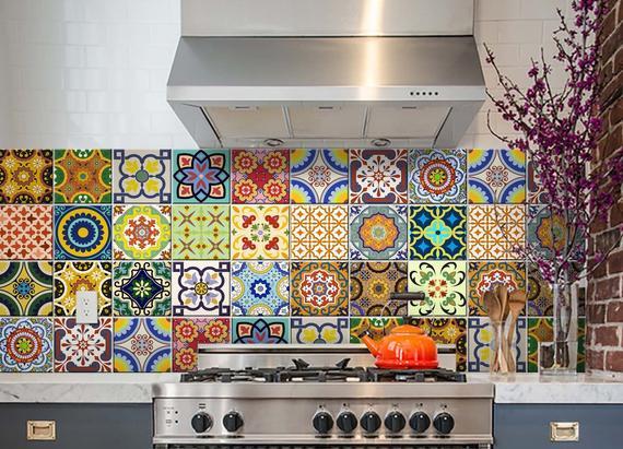 24 set wall Mural DIY tile Stickers decor backsplash Portuguese tiles