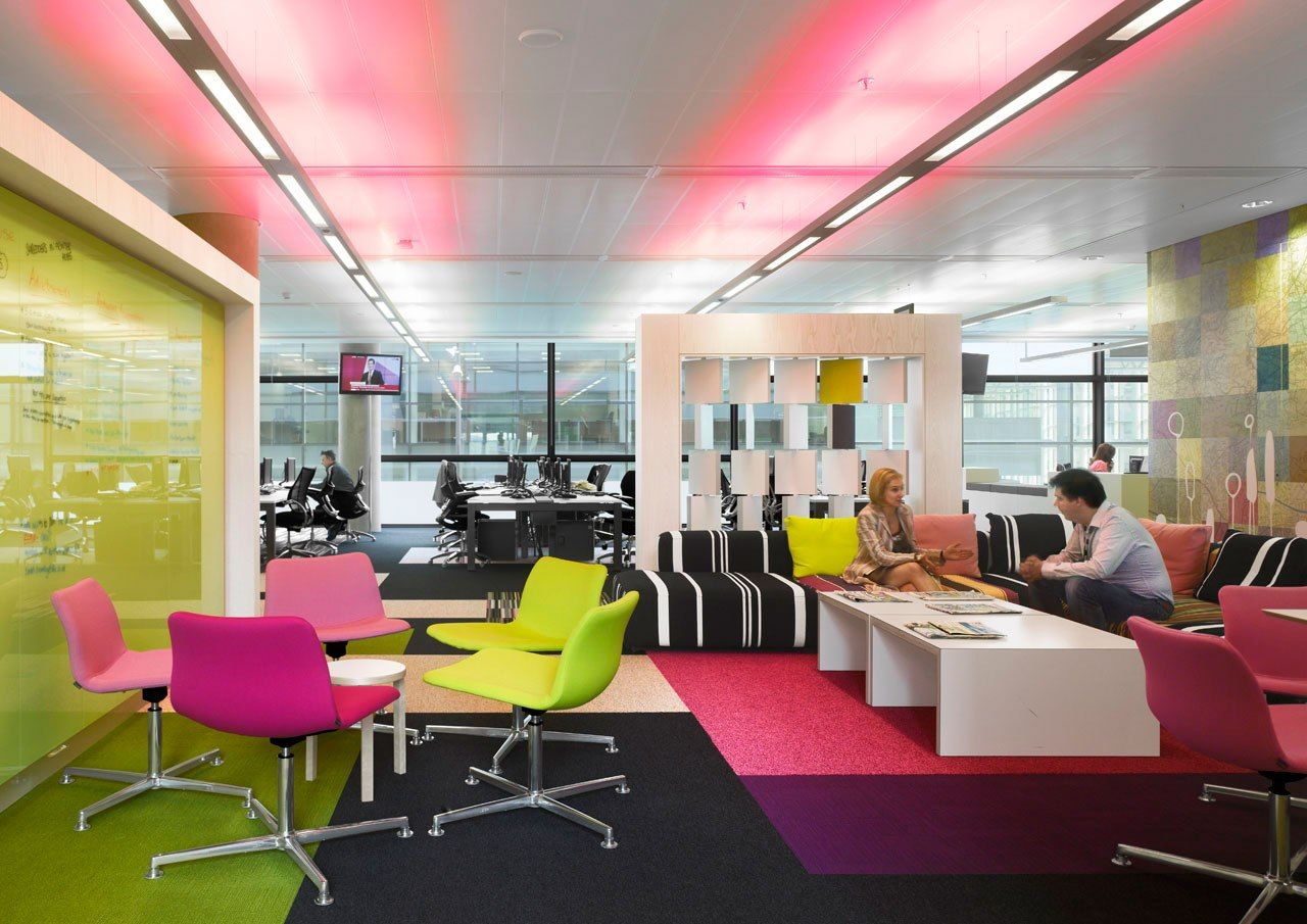 Charming White Office Design Colorful Office Design Interior