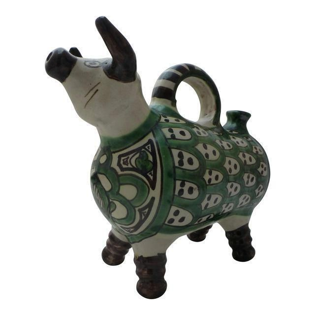 Domingo Punter Spanish Artist BOJITO Painted Pitcher Folk Art SIGNED Pottery