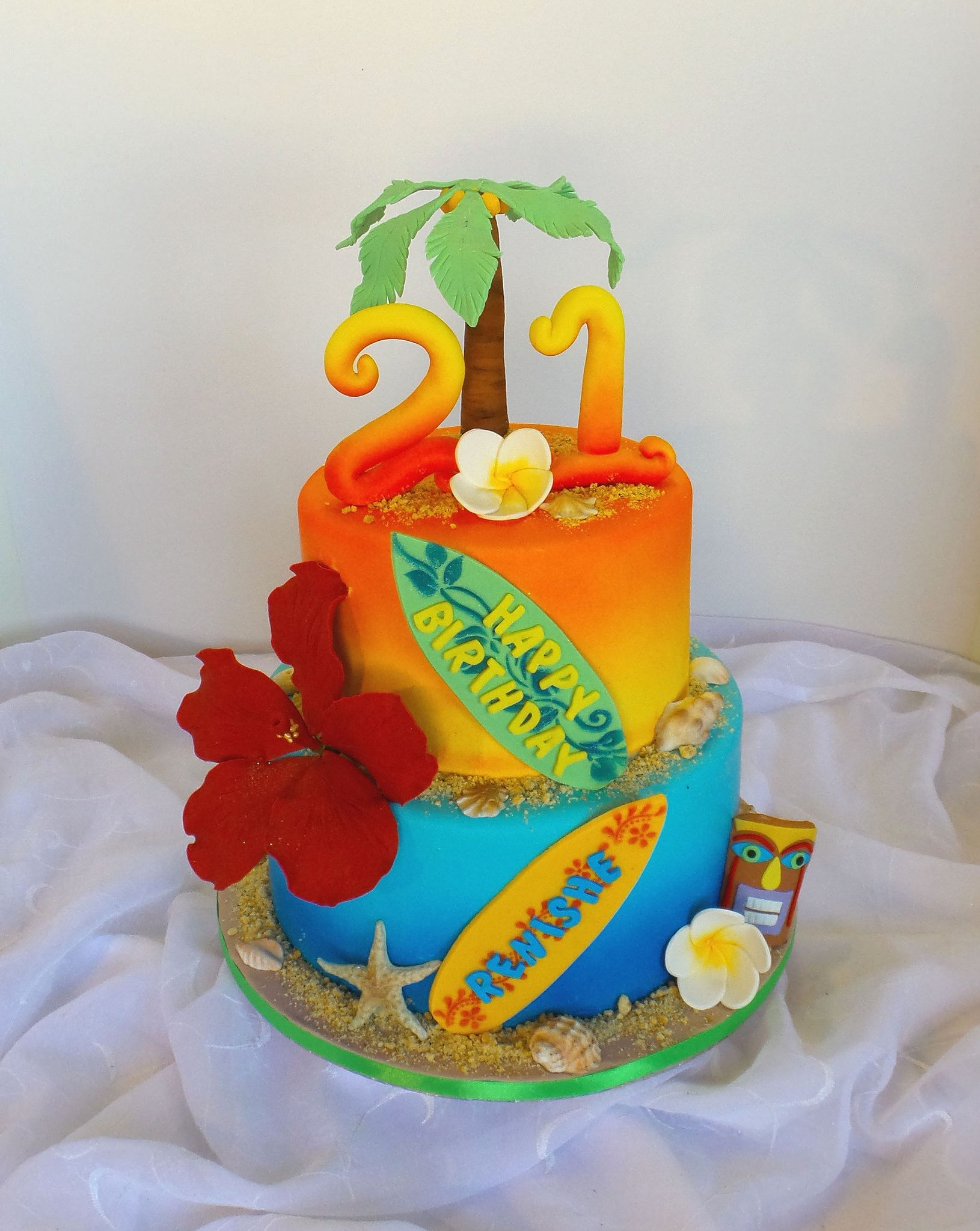 Swell Hawaii Themed 21St Birthday Cake 21St Birthday Cake Hawaii Funny Birthday Cards Online Fluifree Goldxyz