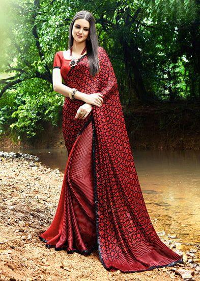 0d78a00b78 Sanskar Red Satin Silk Embellished Saree | vn sindhu in 2019 | Silk ...