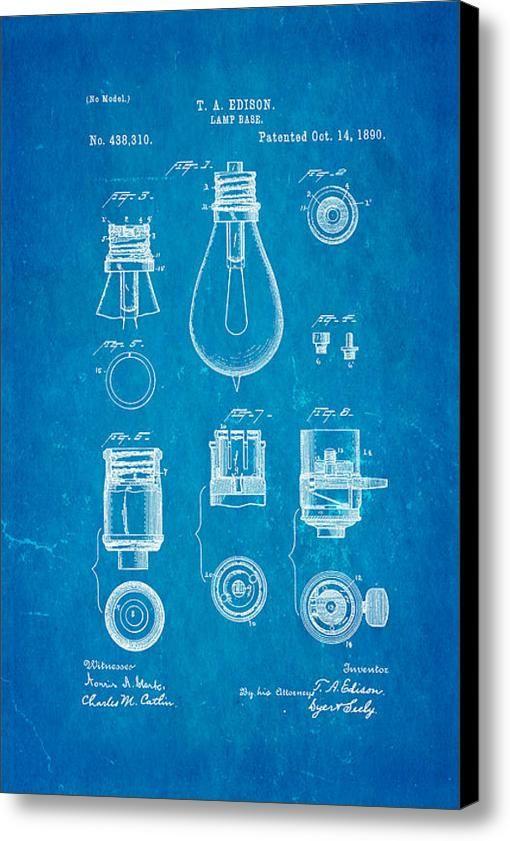 Edison lamp base patent art 1890 blueprint canvas print canvas edison lamp base patent art 1890 blueprint canvas print canvas art by ian monk malvernweather Images