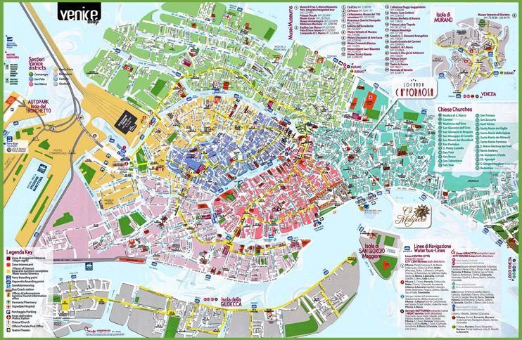 Mapa Atrakcji Turystycznych Wenecji Venice Tourist Attractions