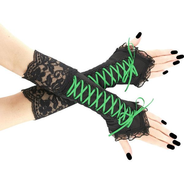 Gothic Women/'s Black Elbow Length Fingerless Lace Gloves Lace Up Arm Warmer
