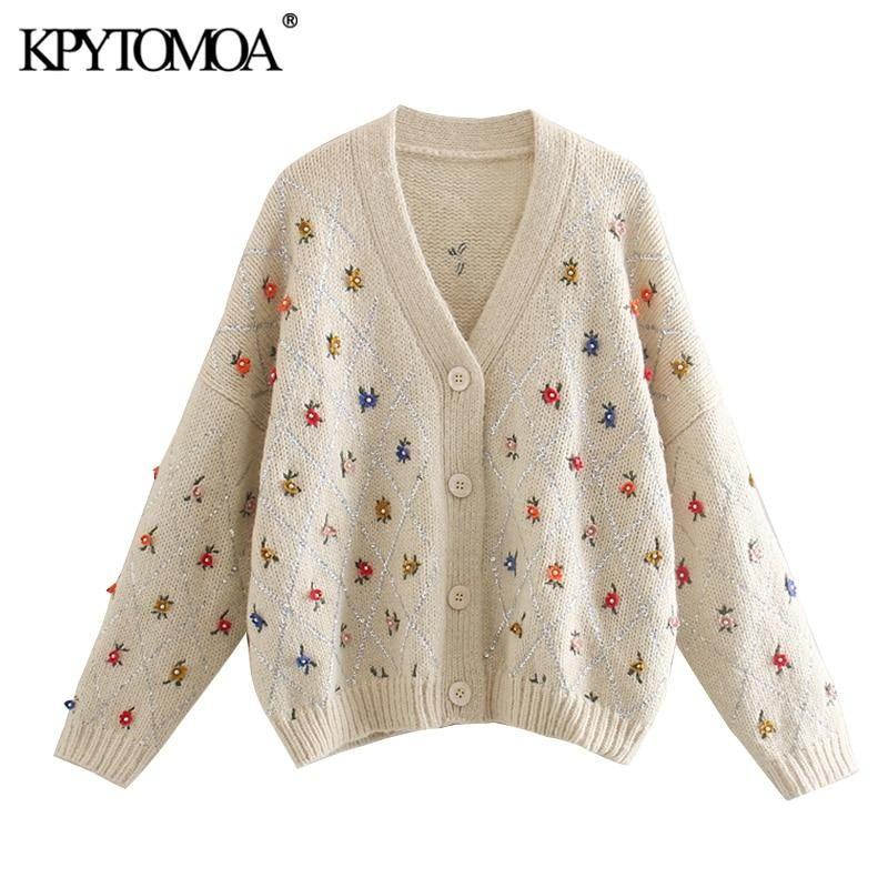 Womens Long Sleeve V-Neck Button Down Cable Knitwear Loose Cherry Embroidery Cropped Sweater Cardigan Coat