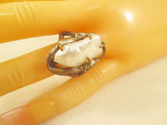 Copper Large Freshwater Pearl Ring/Vintage Copper Ring/Oblong Pearl/Ring Size…