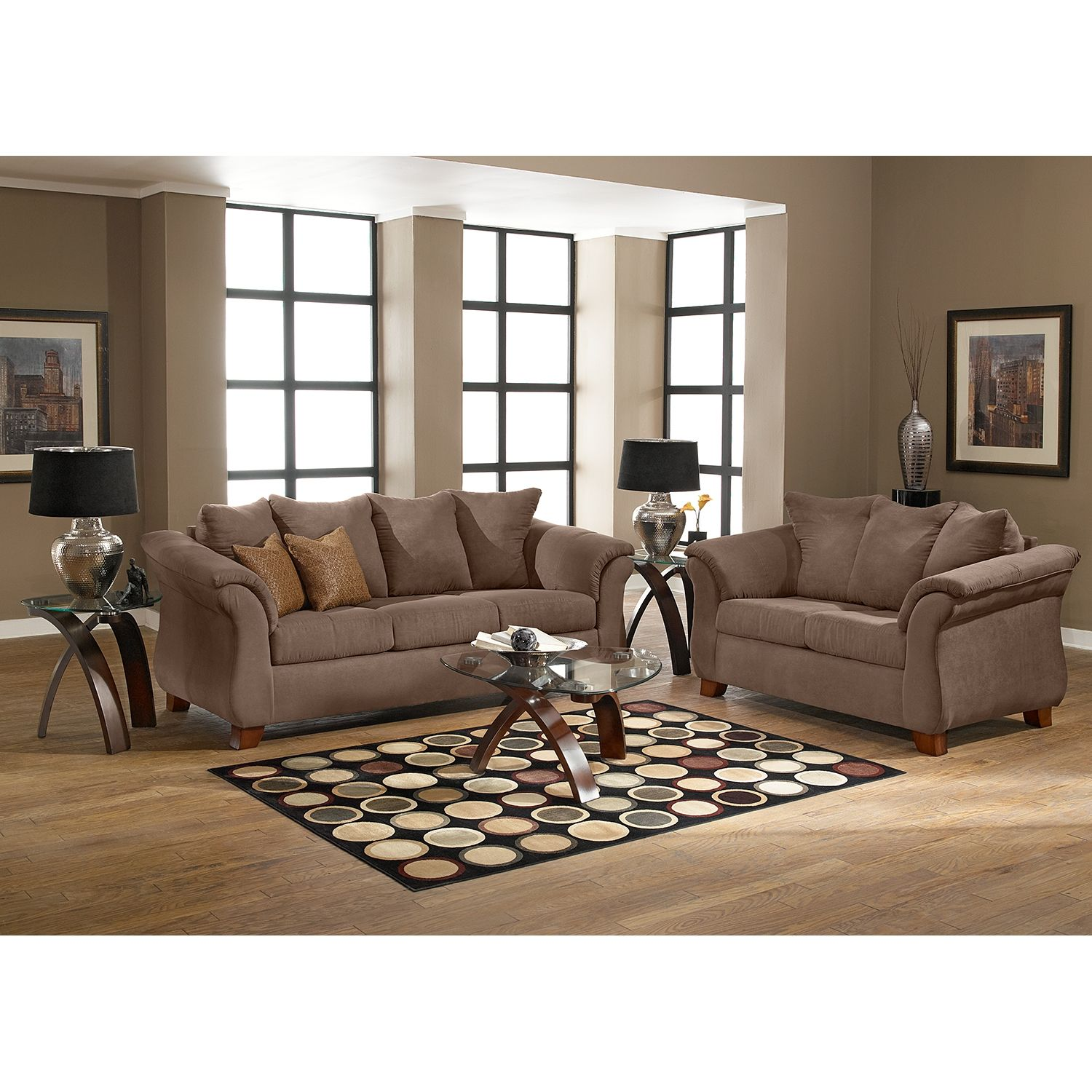 Delightful Adrian Taupe Loveseat | Value City Furniture
