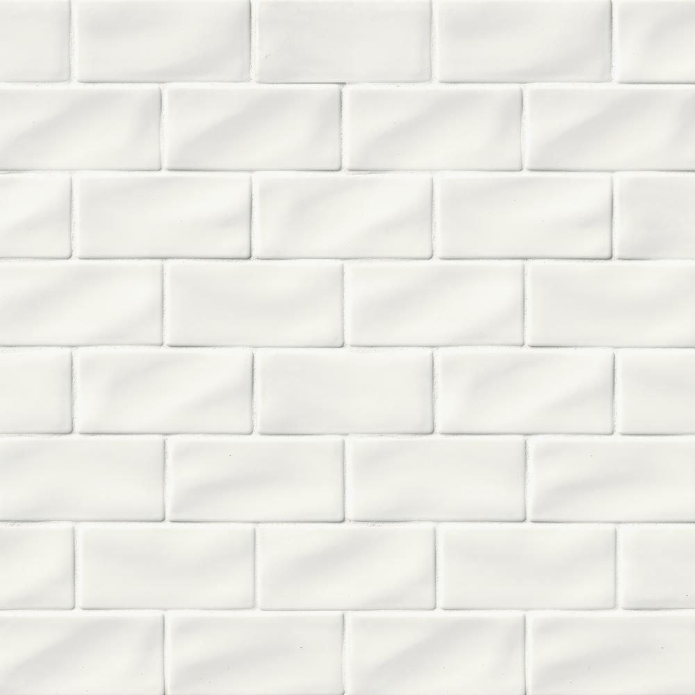 Msi 3 In X 6 In Whisper White Handcrafted Glossy Ceramic Wall Tile 1 Sq Ft Case Pt Ww36 The Home Depot Ceramic Wall Tiles Wall Tiles White Tile Backsplash