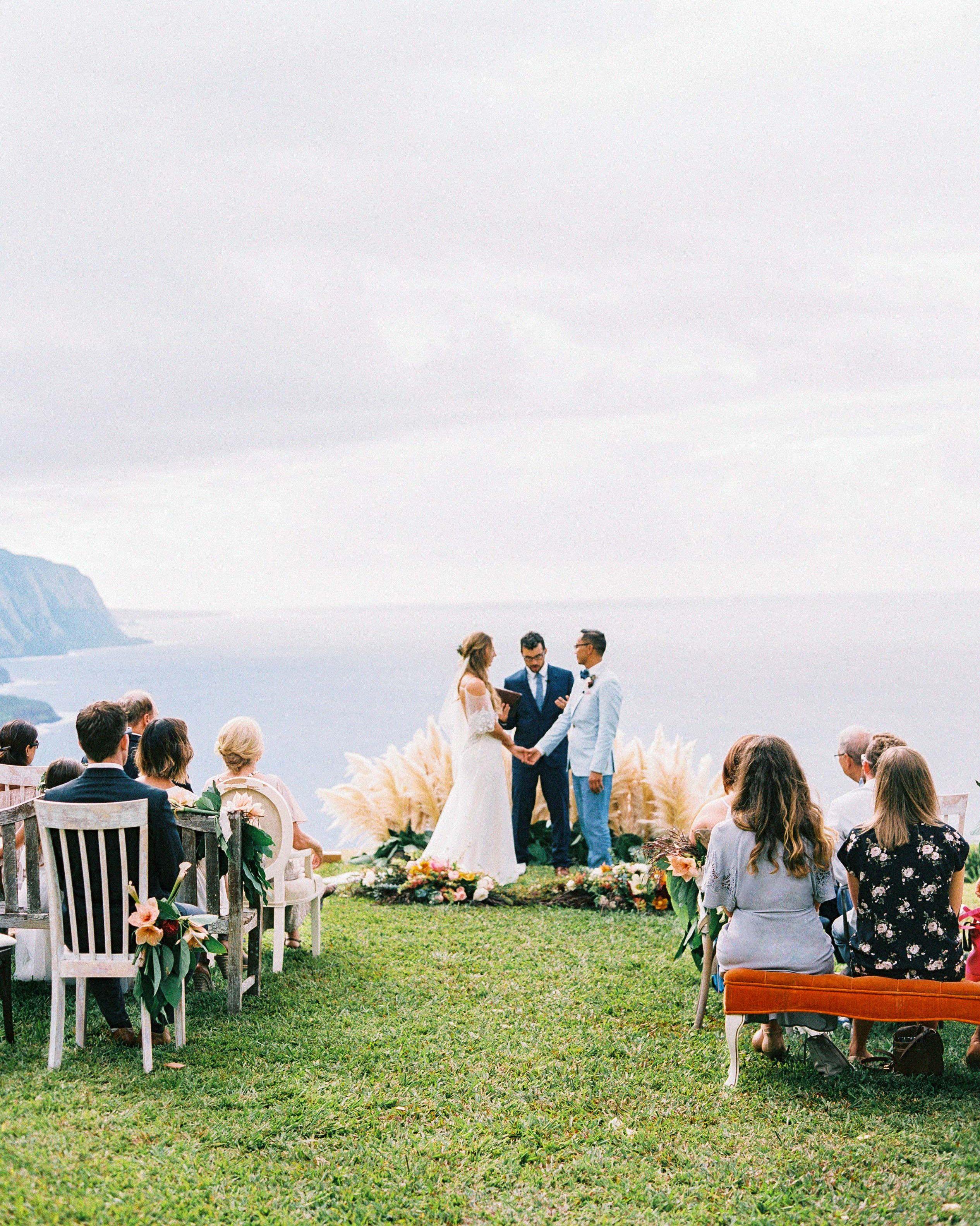 One Couple S Intimate Cliffside Wedding In Hawaii Hawaii Wedding Wedding Beach Ceremony Small Beach Weddings