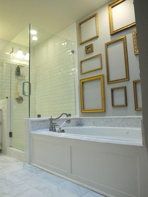 I like the frames above a bath with no window.