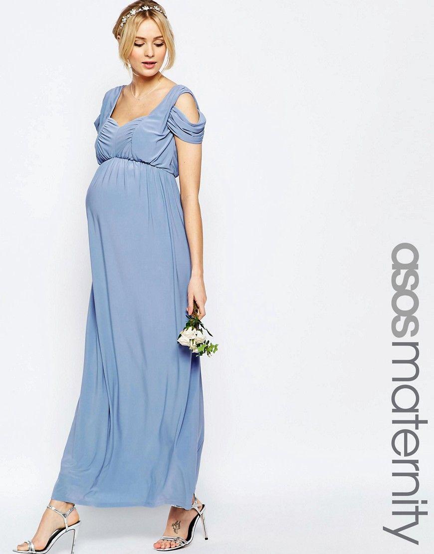 Image 1 of ASOS Maternity WEDDING Drape Cold Shoulder Maxi Dress ...